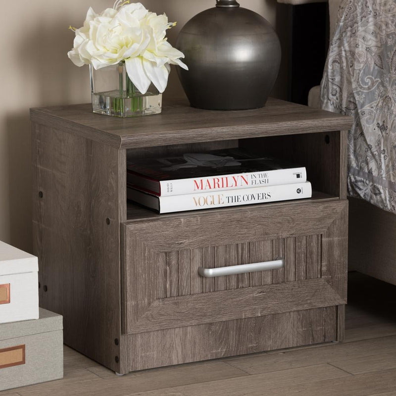 Gala Oak Brown 1-Drawer Nightstand - living-essentials