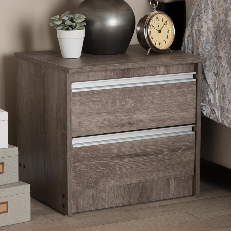 Gala Oak Brown 2-Drawer Nightstand - living-essentials