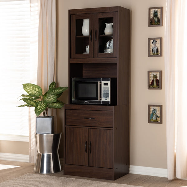Laura Dark Walnut Finished Kitchen Cabinet and Hutch