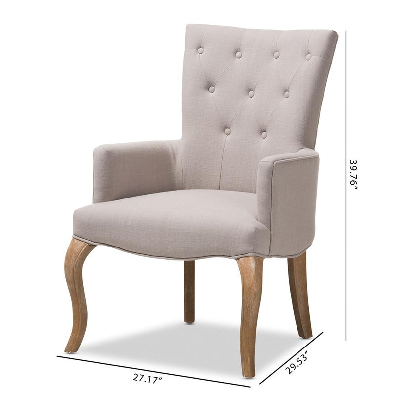 Clio French Beige Lounge Chair - living-essentials