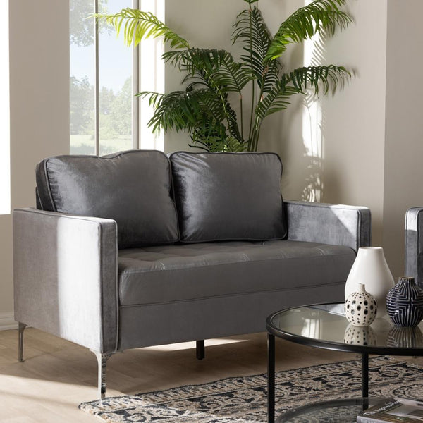 Clark Grey Velvet 2-Seater Loveseat - living-essentials