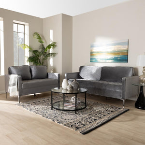 Clark Grey Velvet 2-Piece Living Room Set - living-essentials