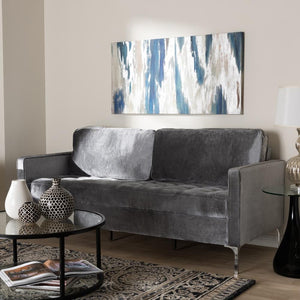 Clark Grey Velvet 3-Seater Sofa