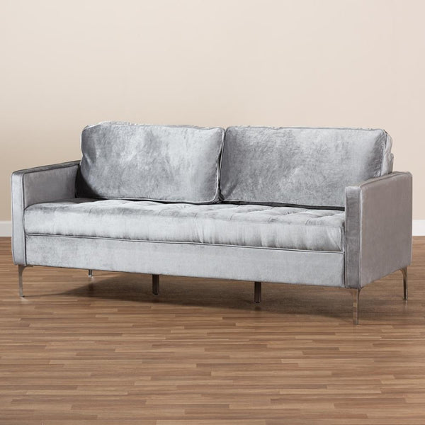 Clark Grey Velvet 3-Seater Sofa - living-essentials