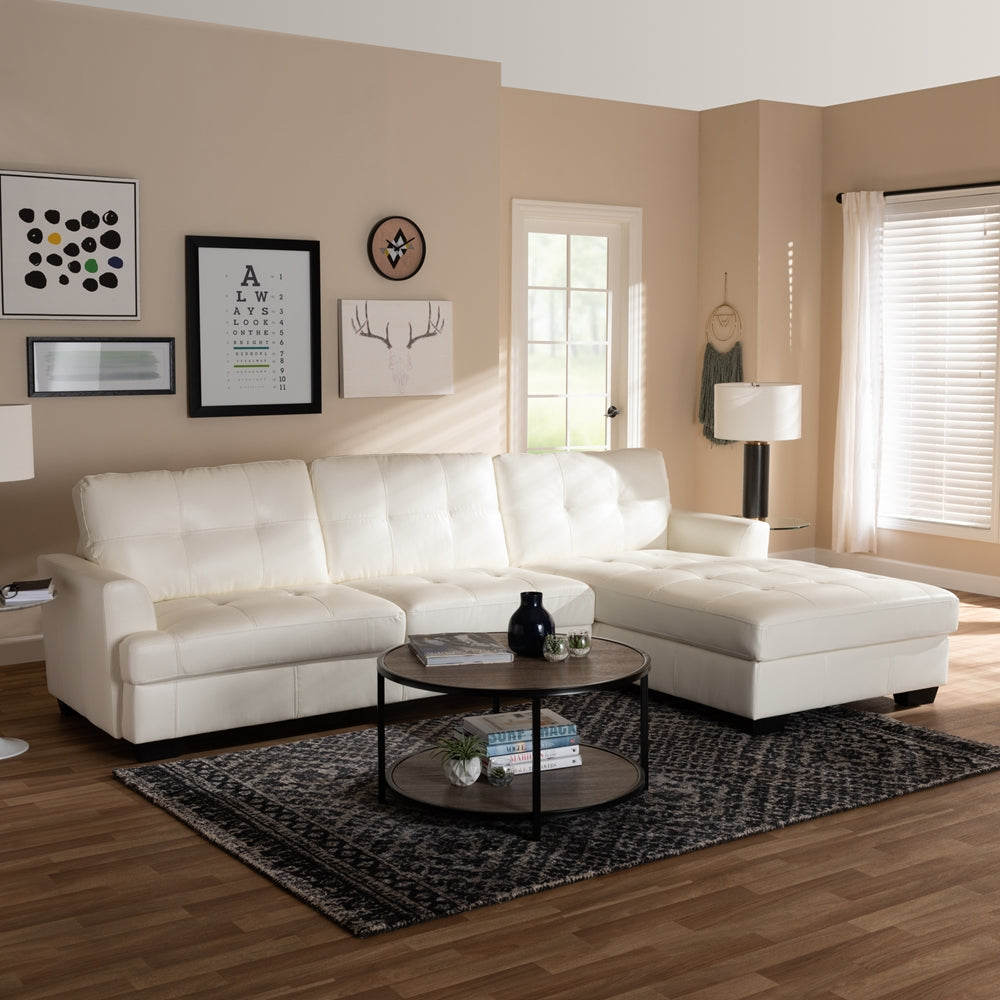 Adelyn White Faux Leather Sectional Sofa   EMFURN