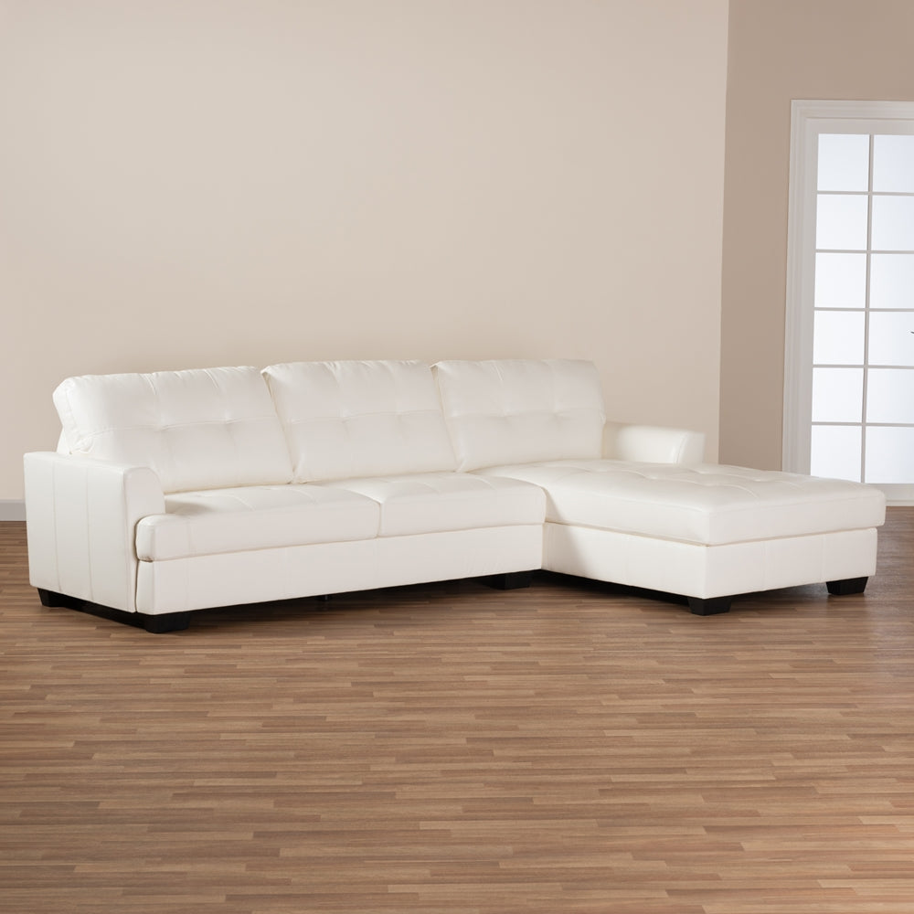 Adam White Faux Leather Upholstered Sectional Sofa