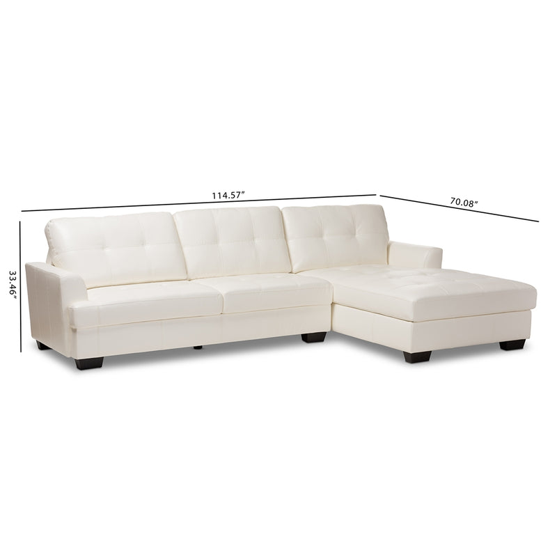 Adelyn White Faux Leather Sectional Sofa - living-essentials