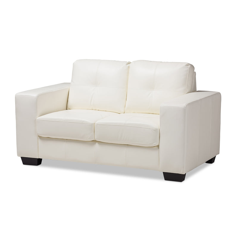 Adelyn White Faux Leather Loveseat - living-essentials