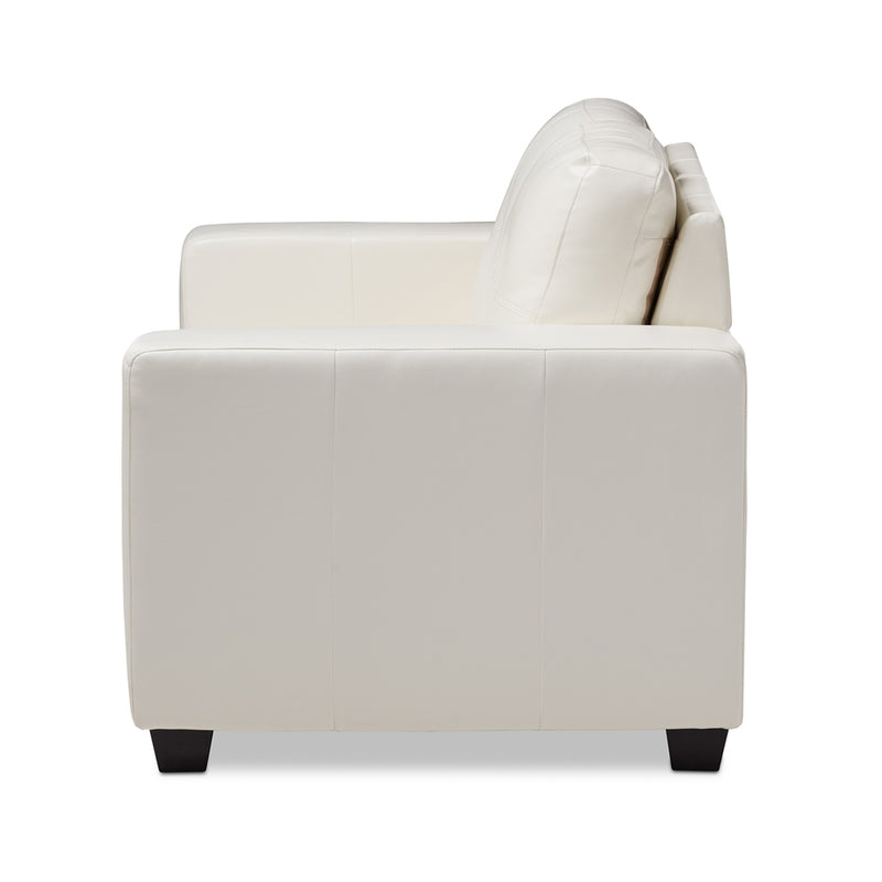 Adelyn White Faux Leather Sofa - living-essentials