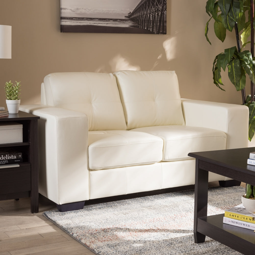 Magnificent Adelyn White Faux Leather Loveseat Caraccident5 Cool Chair Designs And Ideas Caraccident5Info