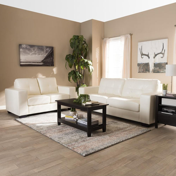 Adelyn White Faux Leather 2-Piece Living Room Set - living-essentials