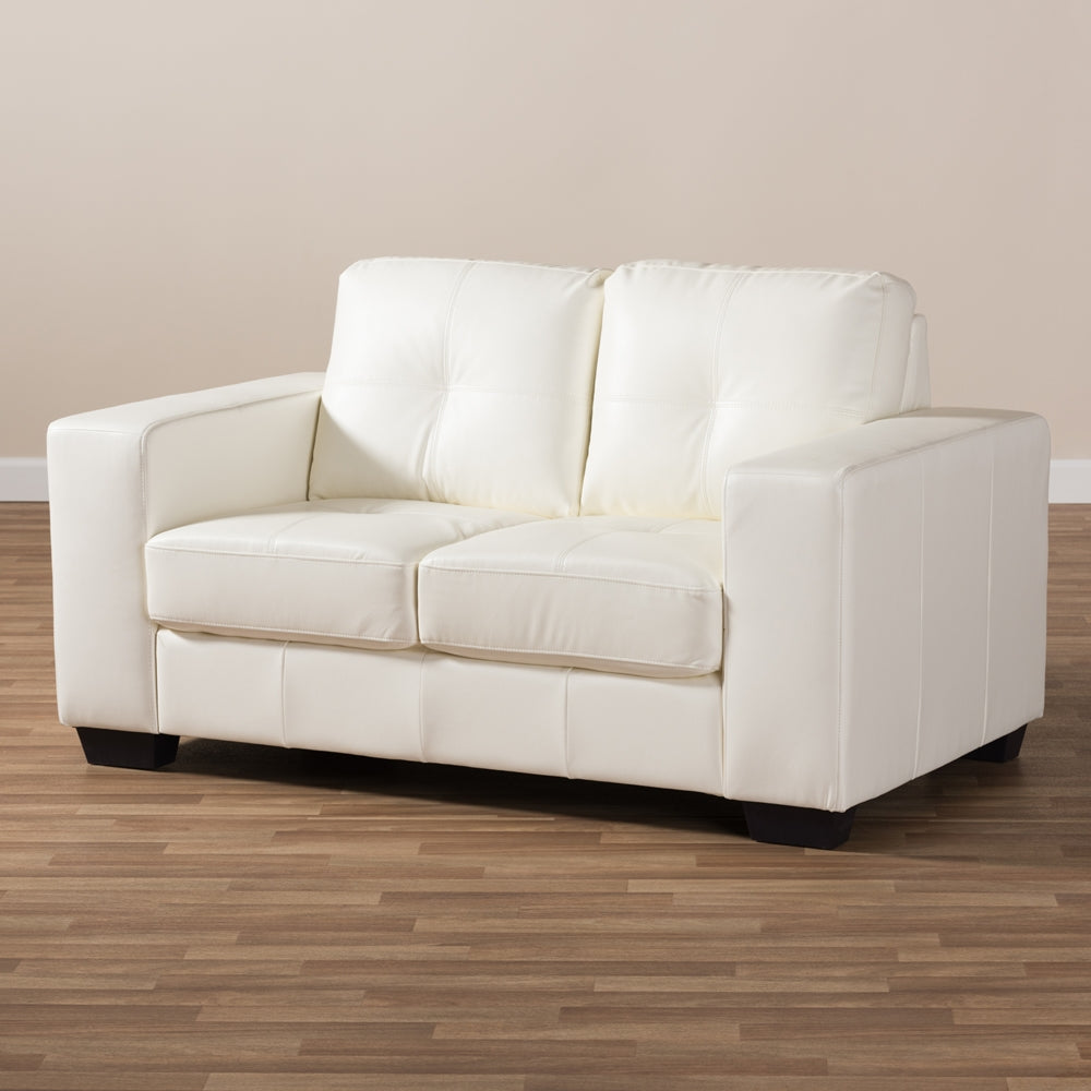 ... White Faux Leather Sofa. Mobile Gallery