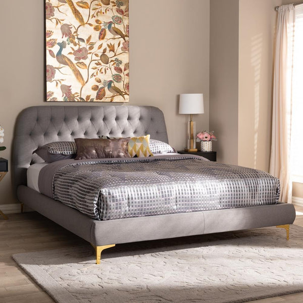 Indigo Light Grey Queen Platform Bed - living-essentials