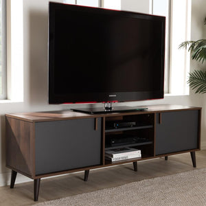 Salma Mid-Century Modern Brown and Dark Grey Finished TV Stand