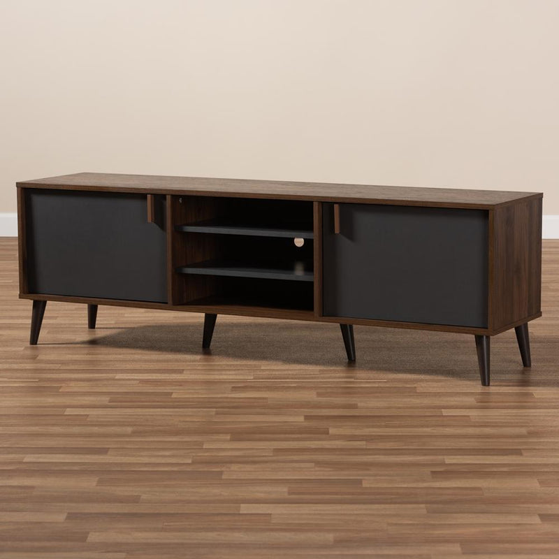Salma Mid-Century Modern Brown and Dark Grey Finished TV Stand - living-essentials