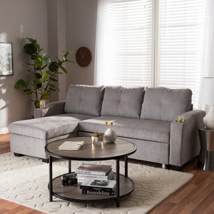 Audrey Modern Light Grey Fabric Sectional Sofa