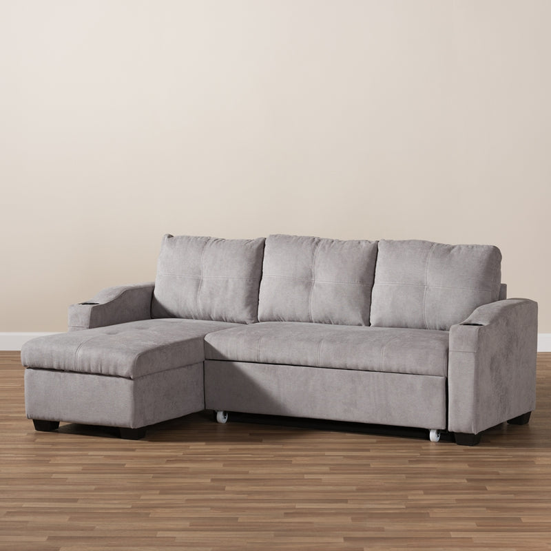 Audrey Modern Light Grey Fabric Sectional Sofa - living-essentials
