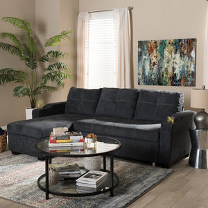 Audrey Modern Dark Grey Fabric Sectional Sofa
