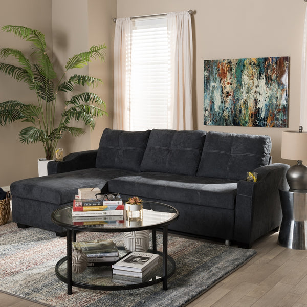Audrey Modern Dark Grey Fabric Sectional Sofa - living-essentials