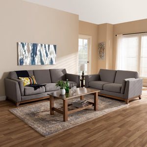 Salma Grey Velvet 2-Piece Living Room Set