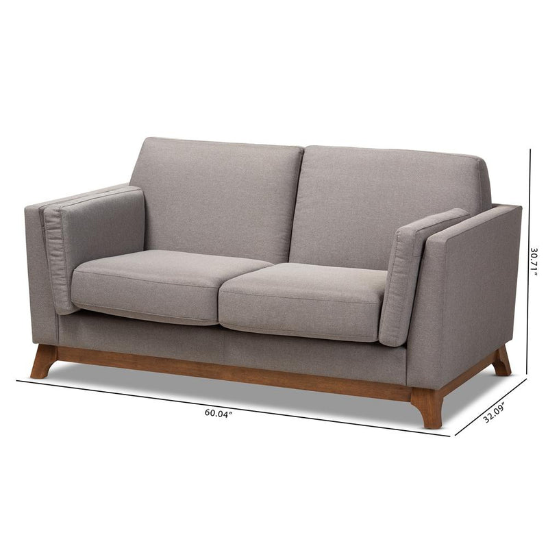 Salma Grey 2-Seater Loveseat - living-essentials