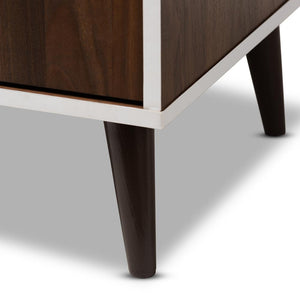 Makena Mid-Century Modern Brown and White Finished TV Stand