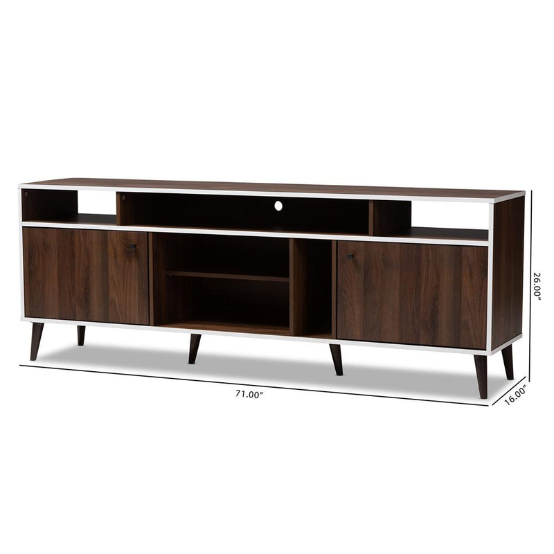 Makena Mid-Century Modern Brown and White Finished TV Stand - living-essentials
