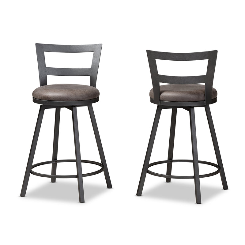 Arianna Leather Bar Stool Set of 2 - living-essentials