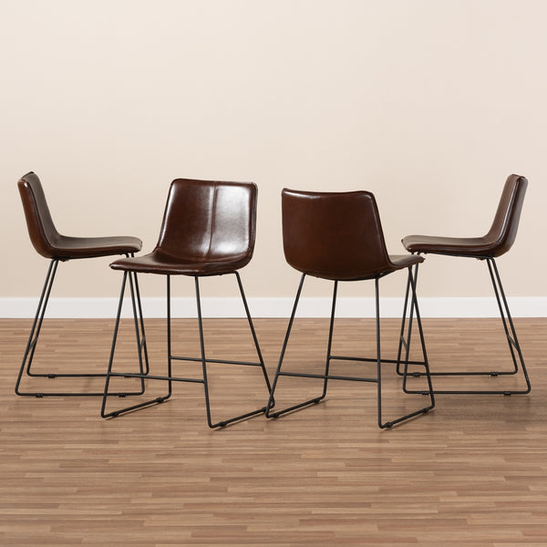 Carlito Leather Bar Stool Set of 2 - living-essentials