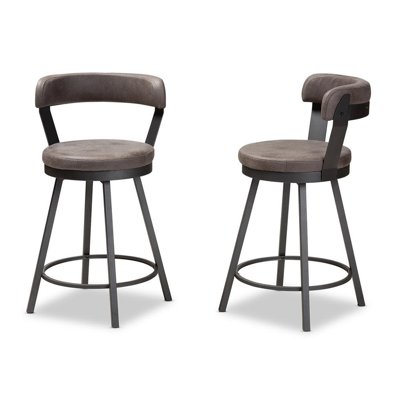 Ariel Leather Swivel Bar Stool Set of 2 - living-essentials
