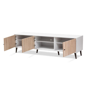 Banner Mid-Century White and Light Oak 6 Shelf TV Stand