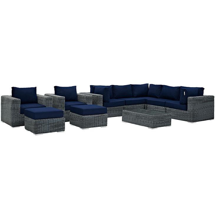 Santa Maria 10 Piece Outdoor Patio Sunbrella Sectional Set - living-essentials