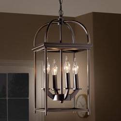 Lily Farmhouse Dark Bronze Metal 4-Light Lantern Pendant Light - living-essentials