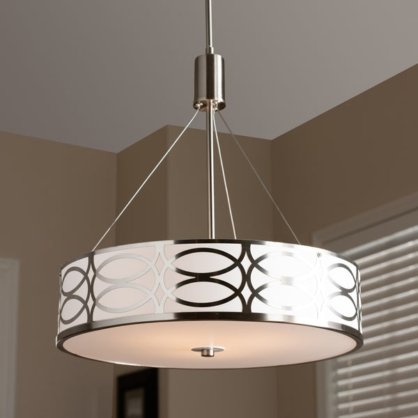 Mila White Fabric And Brush Nickle Metal Drum Pendant Light - living-essentials