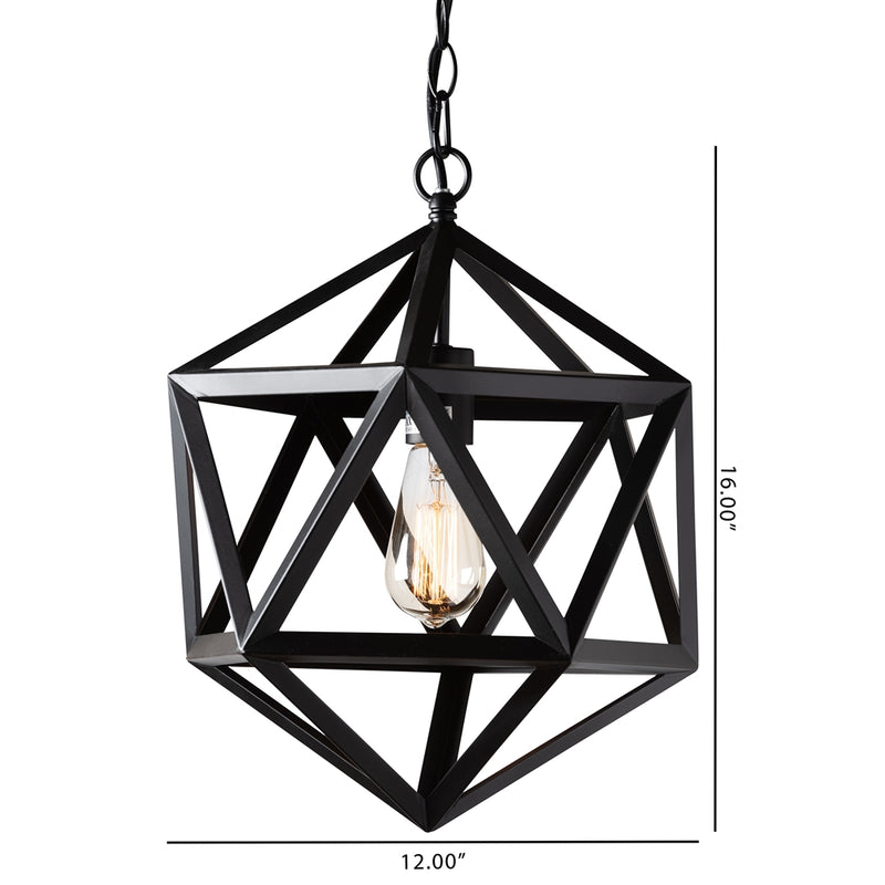 Gwen Black Metal Geometric Pendant Light - living-essentials
