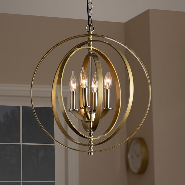 Roslin Antique Brass Metal 4-Light Orb Chandelier - living-essentials