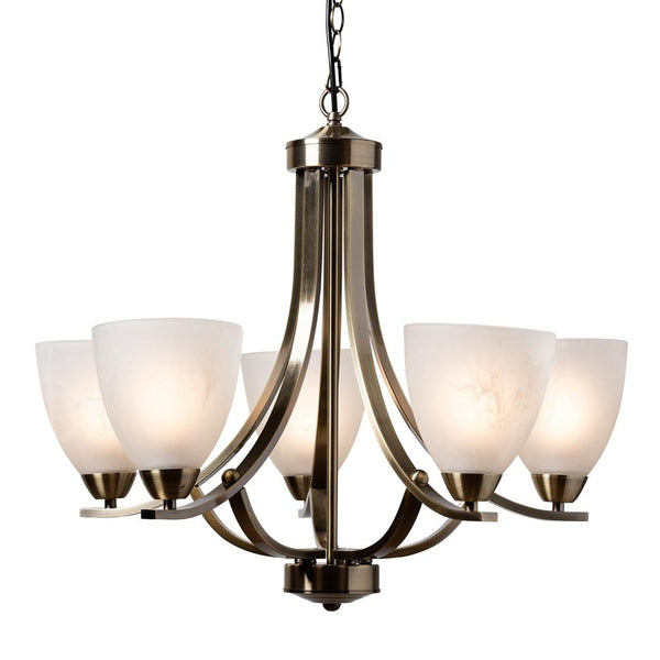 Carly Antique Brass Metal And Frosted Glass 5-Light Chandelier - living-essentials