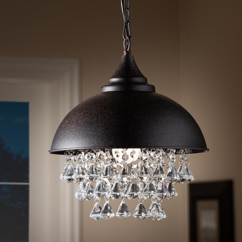 Vera Rust Metal And Crystal Pendant Light - living-essentials