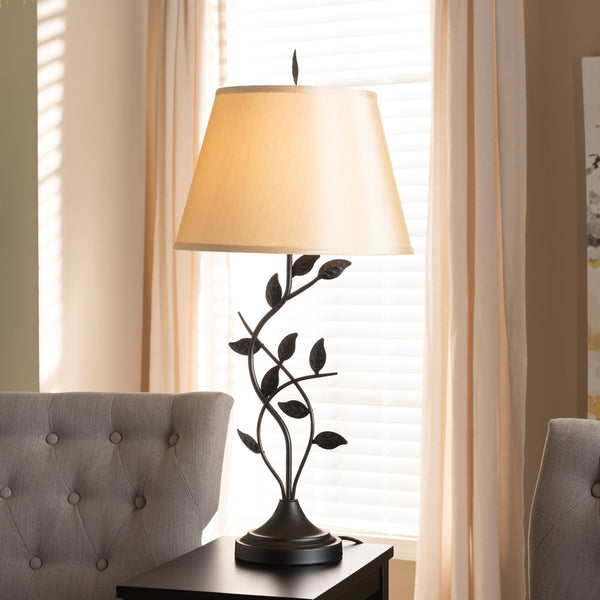 Cali Transitional Black Metal Leaf Table Lamp - living-essentials