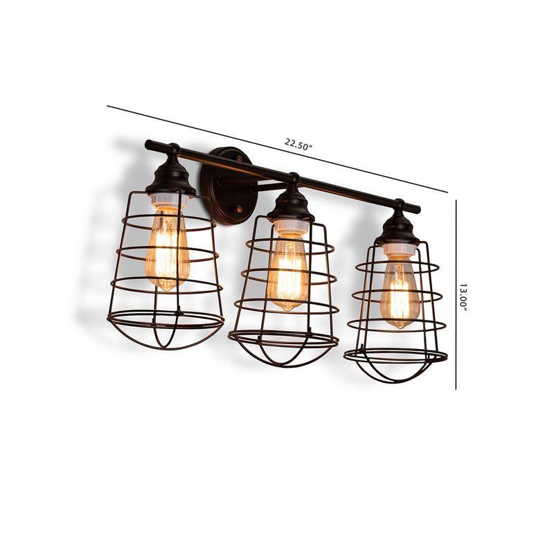 Levi Vintage Industrial Dark Bronze Metal 3-Light Cage Wall Sconce Lamp - living-essentials