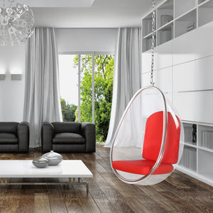 Eero Aarnio Style Hanging Pod Chair 50H X 41W 32D / Black Chairs Free Shipping