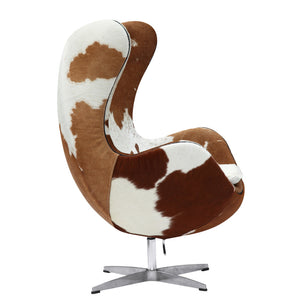 Egg Style Cowhide Chair Black Free Shipping