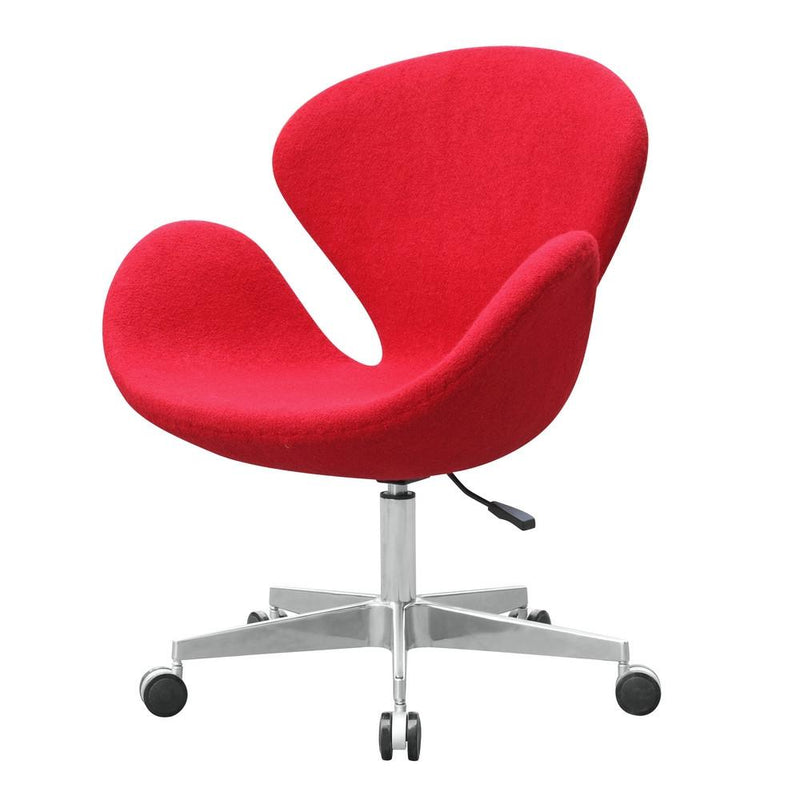 Red Wool Swan Style Chair with Casters - living-essentials