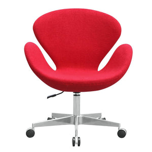 Red Wool Swan Style Chair With Casters Chairs Free Shipping