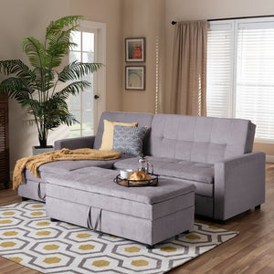 Alexis Modern Light Grey Fabric Left Facing Storage Sectional Sleeper Sofa With Ottoman