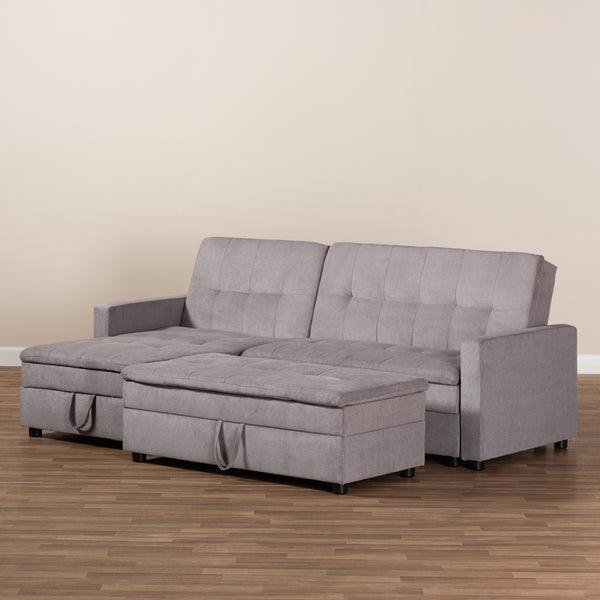 Alexis Modern Light Grey Fabric Left Facing Storage Sectional Sleeper Sofa With Ottoman - living-essentials