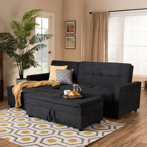 Alexis Modern Dark Grey Fabric Left Facing Storage Sectional Sleeper Sofa With Ottoman - living-essentials