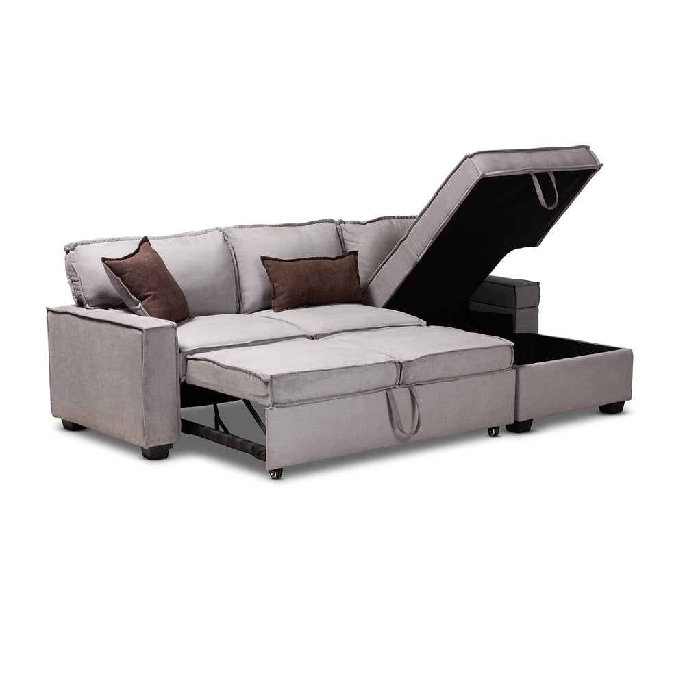 Wondrous Aiden Modern Light Grey Fabric Right Facing Storage Sectional Sofa With Pull Out Bed Gmtry Best Dining Table And Chair Ideas Images Gmtryco