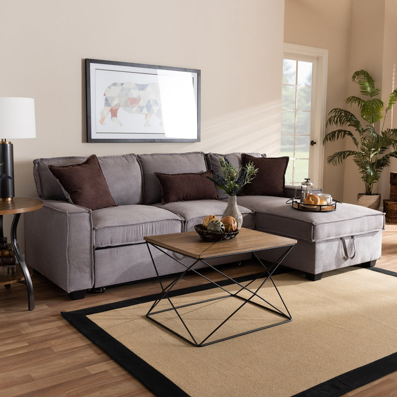 Aiden Modern Light Grey Fabric Right Facing Storage Sectional Sofa With Pull-Out Bed - living-essentials