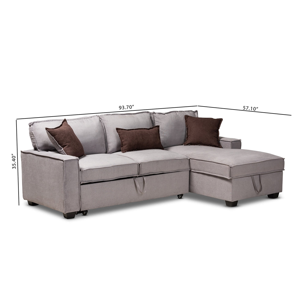 Peachy Aiden Modern Light Grey Fabric Right Facing Storage Sectional Sofa With Pull Out Bed Gmtry Best Dining Table And Chair Ideas Images Gmtryco